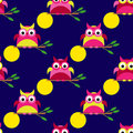Seamless background with decorative owls. Moonlit night.