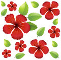 Seamless background design with red hibiscus flowers Royalty Free Stock Photo
