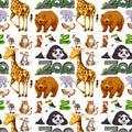 Seamless background design with wild animals