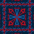 Seamless background with different geometric shapes, blue with red, cells