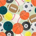 Seamless background with different kind of sport balls