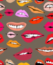 Seamless background with different lips Stock Photography