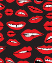 Seamless background with different red lips Stock Photos