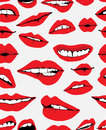 Seamless background with different red lips Stock Photo