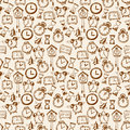 Seamless background with doodle sketch watches Royalty Free Stock Photo