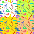 Seamless background of drawing accessories on different colors vector image Royalty Free Stock Image
