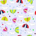 Seamless background with drops raining umbrellas art Royalty Free Stock Photos