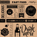Seamless background with fast food symbols. Menu pattern Royalty Free Stock Photo