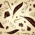 Seamless background feathers calligraphical Stock Images