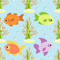 Seamless background with fish card Stock Image