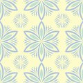 Seamless background with floral pattern. Beige background with light blue and green flower elements Royalty Free Stock Photo