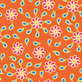 Seamless background floral pattern with paisley on orange Stock Image
