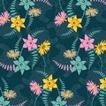 Seamless background with flowers. Stock Images