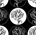Seamless background with flowers, black and white Stock Images