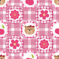 Seamless background with flowers, cherry and teddy bear girl. Vector pattern for cushion, pillow, bandanna, kerchief, shawl fabric