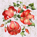 Seamless background flowers ornament fashionable modern wallpaper textile illustration ivy lily Stock Photography