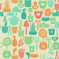 Seamless background with flowers in pots vintage and instruments for gardening Stock Photography