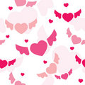 Seamless background with flying hearts Stock Photography