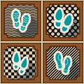Seamless background with footprints and shoeprint icons for your design Royalty Free Stock Photography