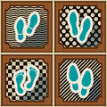 Seamless background with footprints and shoeprint icons for your design Royalty Free Stock Photos