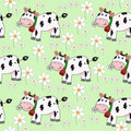 Seamless background with funny cow Royalty Free Stock Photo