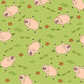 Seamless background with funny pigs vector illustration Stock Photo