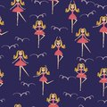 Seamless background for girls with ballerina