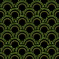 Seamless background with green overlapping circle patterns abstract dark Stock Photo