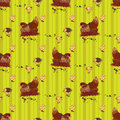 Seamless background with hand drawn rooster, hens and chickens Royalty Free Stock Photo