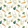Seamless pattern, vegetables , watercolor, modern design Royalty Free Stock Photo