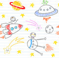 Seamless background with happy childrens and alien aliens sketch on notebook page Royalty Free Stock Images