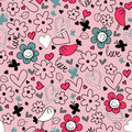 Seamless background hearts flowers and birds romantic Royalty Free Stock Photography