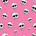 Seamless background with hearts and skulls. Skull love heart pattern. Deadly amur pink background. Vector texture