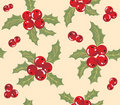 Seamless background with holly berry. Royalty Free Stock Photography