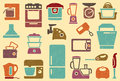 Seamless background from icons of kitchen home app appliances in vintage style Stock Photos