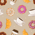 Seamless background with the image of breakfast. Vector illustration. Sweets and coffee.