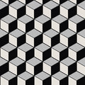 Seamless background image of vintage black white cubic line geometry pattern.