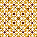 Seamless background image of vintage yellow star kaleidoscope pattern. Royalty Free Stock Photo