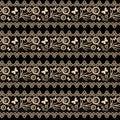 Seamless background. lace pattern beige on black background