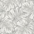 Seamless background leaves monstera palm monster with outline Royalty Free Stock Photography