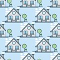 Seamless background with lots of houses. Vector illustration. This endless pattern Can be used for wallpaper, pattern fills,