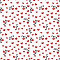 Seamless Background with Love Words and Hearts Royalty Free Stock Photo