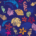 Seamless background marine life pattern shells seahorses dolphins sea stars Royalty Free Stock Photo