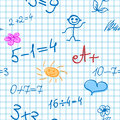 Seamless background with math formulas sun little men etc on notebook sheet Royalty Free Stock Photos