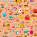 Seamless background meal and ware in doodle style. Royalty Free Stock Photo