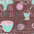 Seamless background with morning tea vintage breakfast illustration for design Stock Photo