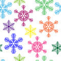 Seamless background with multi colored snowflakes a Royalty Free Stock Images