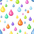 Seamless background with multicolored drops of water on white Royalty Free Stock Images