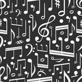 Seamless background of music notes Stock Photo