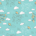 Seamless background with old airplane in sky retro bird and clouds doodle line art hand drawn design elements Royalty Free Stock Photography